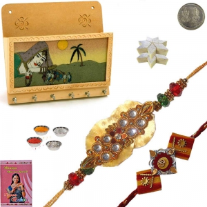 Key Magazine Holder n 200Gm Kaju Katli Rakhi Gift 128