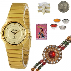 Luxury Wrist Watches Rakhi Gift n 200Gm Kaju Katli 130
