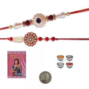 Handmade Traditional Fancy Pearl Rakhi Pair Gift 403