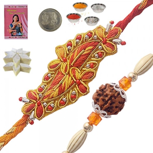 Traditional Rakhi Gift n 400Gm Kaju Katli Sweet 106