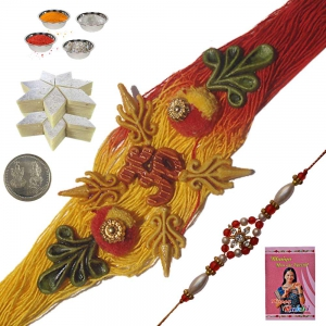 Handcrafted Rakhi to Brother n 200Gm Kaju Katli 122