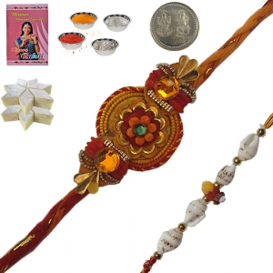 Traditional Style Rakhi n 200Gm Kaju Katli Sweet 128