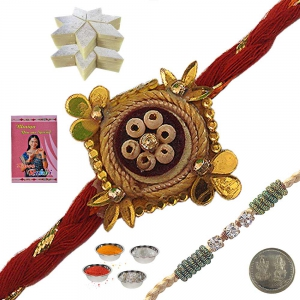 Send Jaipuri Handmade Mauli Rakhi Gift to Brother 133