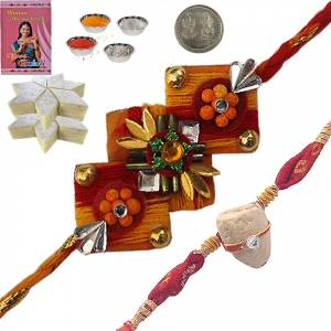 Buy India Brother Rakhi n 400Gm Kaju Katli Mithai 135