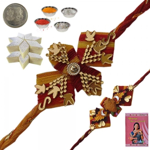 Send Ethnic Rakhi Gifts n 400Gm Kaju Katli Mithai 144