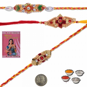 Handcrafted Work Special 3 Pc Rakhi Gift For Brothers 501