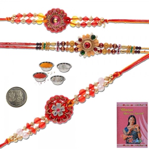 Traditional Handcrafted 3 Pc Rakhi Gift For Brothers 502
