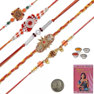 Handcrafted 5 Pc Designer Rakhi Gift For Brothers 601