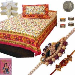Floral Print Single Bed Sheet n Designer Rakhi 403