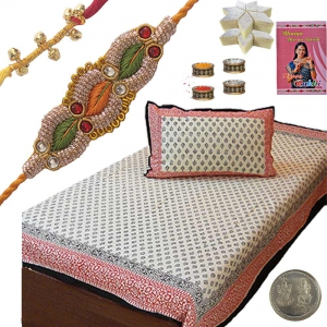 Single Bed Sheet Rakhi Gift n 400Gm Kaju Katli 410