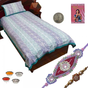 Jaipur Cotton Single Bed Sheet Bedcover Pillow Cover