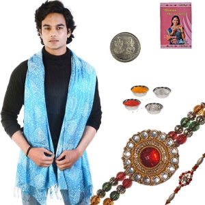 Reversible Designer Mens Scarf and Amazing Rakhi Gift