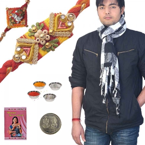 Checkered Designer Mens Scarf n Exclusive Rakhi Gift