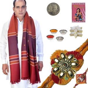 Traditional Shawl and Rakhi Gift n 200Gm Kaju Katli