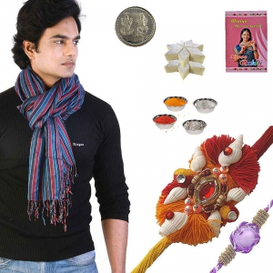 Traditional Striped Men Scarf n Exquisite Rakhi Gift