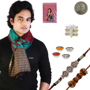 Rajasthani multicolor Mens Scarf and Great Rakhi Gift