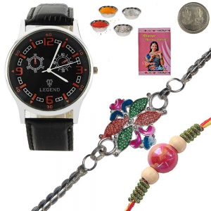 Mens Stylish Wrist Watch n Fancy Silver Rakhi Gift 137