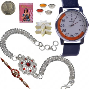 Mens Wrist Watch and Pricious Silver Rakhi Set 138