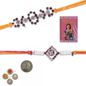 Traditional Design Handcrafted Silver Rakhi Pair Gift 405