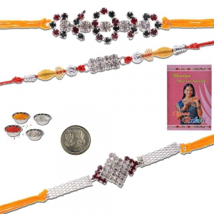 Traditional Design 3 Pc Handcrafted Silver Rakhi Gift 502