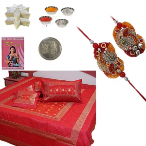 Double Bed Cover Rakhi Gift n 400Gm Kaju Katli 205