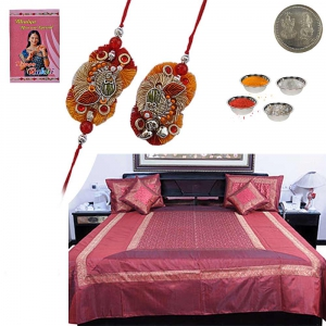 5 Piece Silk Double Bed Cover Set Rakhi Gift 321