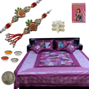 5 Piece Silk Double Bed Cover n Exclusive Rakhi Gift