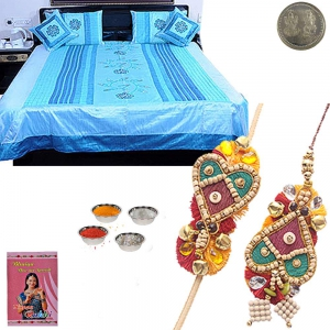 Floral Work Silk Double Bed Cover Set Rakhi Gift 340