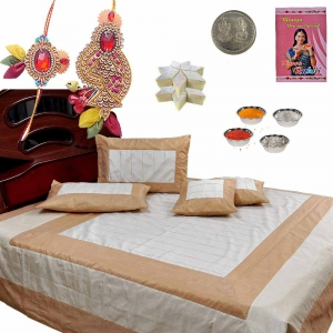 5 Piece Silk Double Bed Cover n 400Gm Kaju Katli