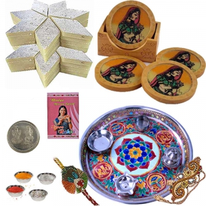 Tea Coasters n Rakhi Thali with 200Gm Kaju Katli 104