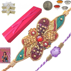 Send Sandalwood Rakhi n 400Gm Kaju Katli Sweet 103
