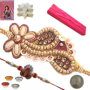 Pure Sandalwood Rakhi Gift Box n 200Gm Kaju Katli 108