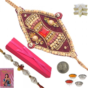 Buy Ethnic Indian Sandalwood Rakhi Gift Box 110