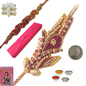 Send to Brother Cute Sandalwood Rakhi Gift Box 112