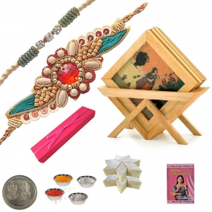 Gemstone Tea Coaster Set n Sandalwood Rakhi Gift 121