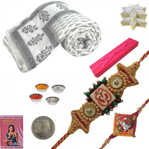 Cotton Double Bed Quilt n Chandan Rakhi Gift Set 122