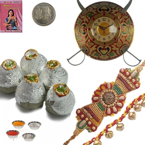 Brass Sword Armour Wall Clock n Rakhi with Mithai 114