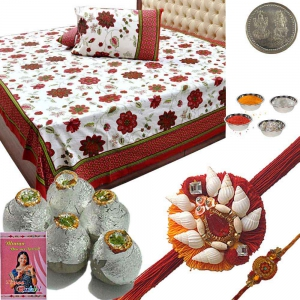 Double Bedcover n Rakhi and 400Gm KajuKalash Sweet 116