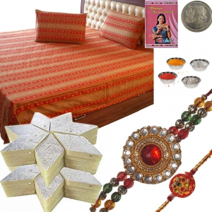 Double Bed Cover n Rakhi with 400Gm Kaju Katli Sweet