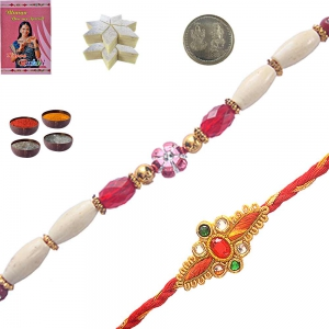 Colorful Thread Rakhi Gift n 400Gm Kaju Sweet 102