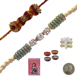 Send Trendy Ethnic Thread Rakhi Gift 2 Brother 108