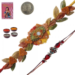 Handcrafted Ethnic Thread Rakhi Gift to Brother 121