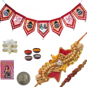 Send Ethnic Thread Rakhi n Door Hanging Gift 126