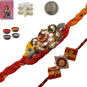 Send Exquisite Mauli Rakhi n 400Gm KajuKatli Sweet 128