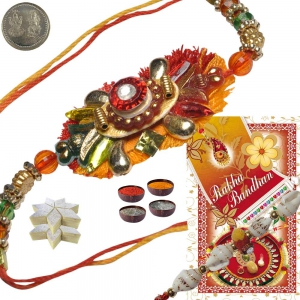 Send Cute Designer Thread Rakhi Gift to Brother 131
