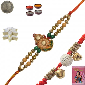 Stylish Thread Rakhi to Brother n 200Gm Kaju Katli 134