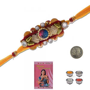Handcrafted Ethnic Design Stylish Thread Rakhi Gift 303