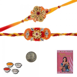 Traditional Design Handcrafted Thread Rakhi Pair Gift 403