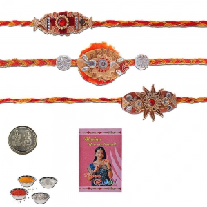 Rajasthani Style Exclusive 3 Pc Thread Rakhi Gift 501