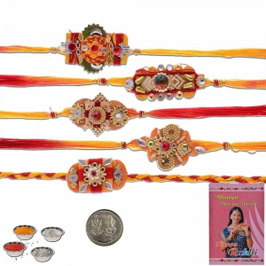 Traditional Designer 5 Pc Handcrafted Thread Rakhi Gift 601